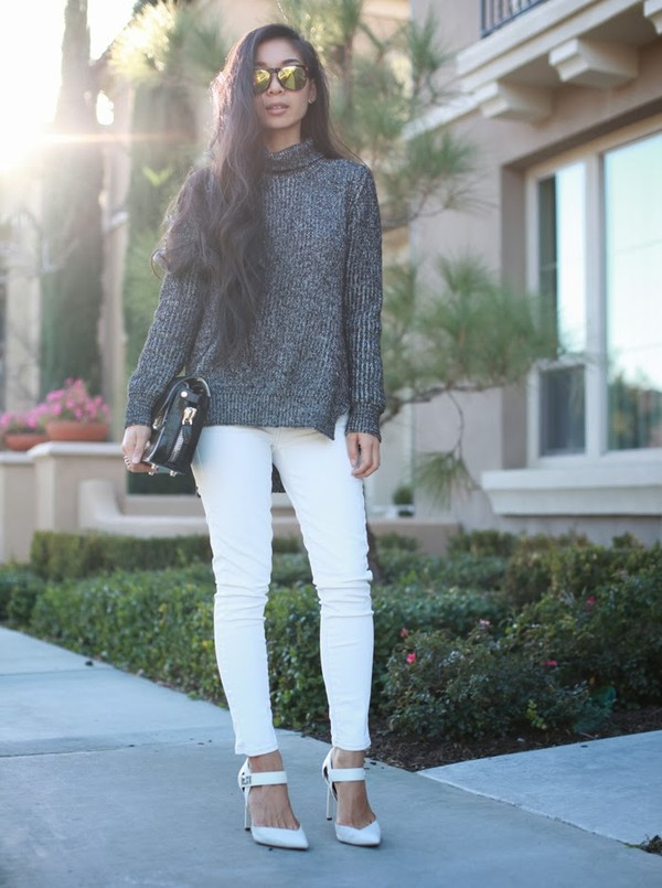 honey and silk sweater jeans shoes sunglasses bag