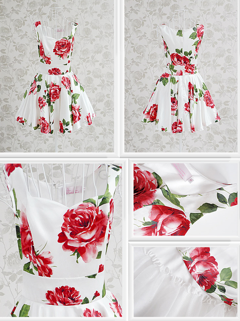 Outletpad | White and red flower slim waist expansion bottom sleeveless | Online Store Powered by Storenvy