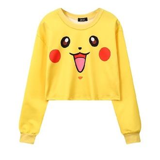 sweater yellow pokemon pikachu cute cropped sweater