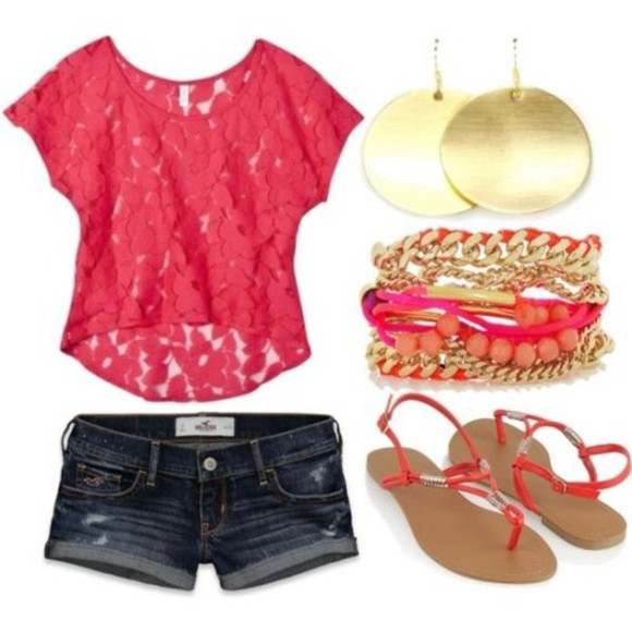 sandals bracelets t-shirt shorts lace pink red top floral fuschia top stacked jewelry summer outfits casual gold earrings blouse shoes pink laces denim shorts earrrings shirt best summer time outfit pink lace top with denim shorts pretty pink summer jewels