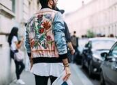 jacket,pink,blue,silk,bomber jacket,embroidered,floral,flowers,mens bomber jacket,satin bomber,unisex,fashion week
