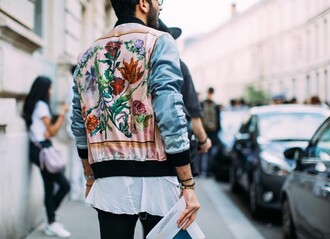 jacket pink blue silk bomber jacket embroidered floral flowers mens bomber jacket satin bomber unisex fashion week