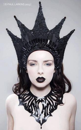 hat goth crown gothic crown black crown headpiece headdress lace lace crown dark black victorian