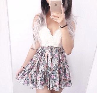 dress white flowers flowers skirt