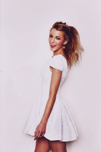 dress white cute serena van der woodsen blake lively white dress mini dress lace dress gossip girl textured dress tea dress cute dress wedding short dress