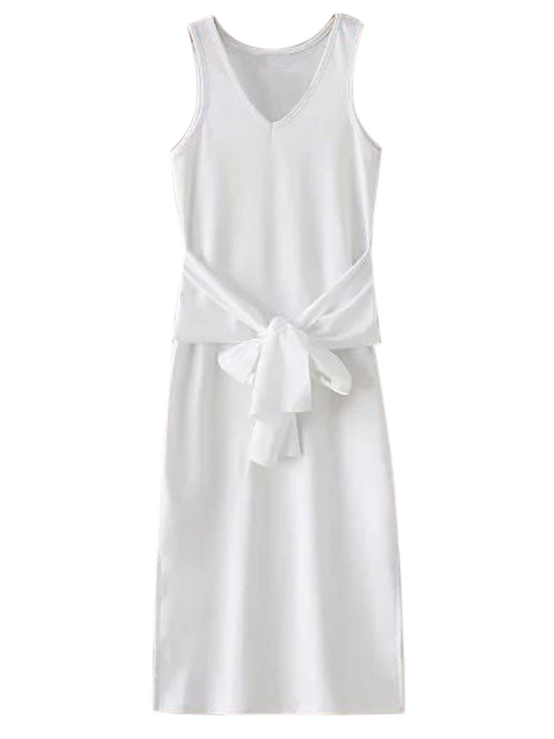 White V-neck Tie Front Side Split Ribbed Dress