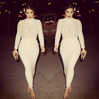 kim kardashian skirt dress cream sheer summer elegant ankle length bodysuit shirt kim kardashian dress nude dress