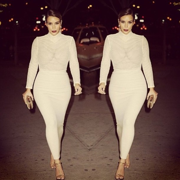 kim kardashian skirt dress cream sheer summer elegant ankle length bodysuit shirt kim kardashian dress nude dress