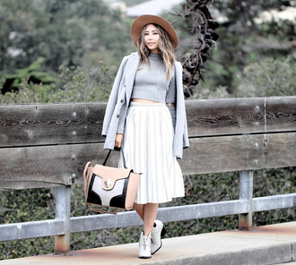 different cands blogger hat top skirt shoes bag jewels