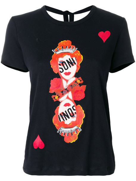 Sonia By Sonia Rykiel - playing card symbols T-shirt - women - Cotton - M, Black, Cotton