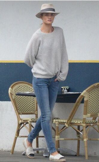 jeans sweater denim rosie huntington-whiteley hat flats