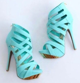 shoes high heels blue baby blue