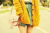 sweater,yellow,heart,argyle,bag,skirt,mustard sweater