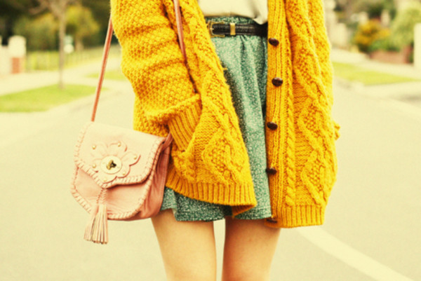 sweater yellow heart argyle bag skirt mustard sweater