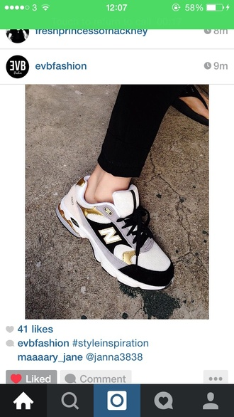 shoes new balance sneakers trainers women's chanel inspired gold details