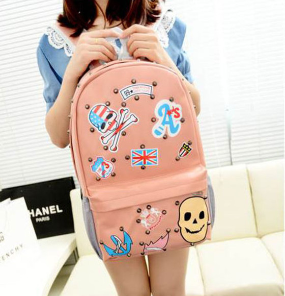 anchor print anchor bag bakpack pink kawaii