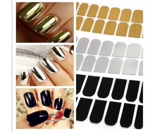 16 Pcs Smooth Nail Art Sticker Patch Foils Armour Wraps DIY Decoration 3 Colors | eBay