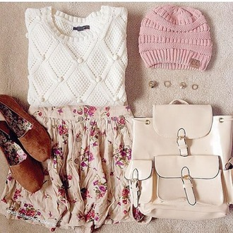 hat sweater skirt nail accessories floral skirt pretty