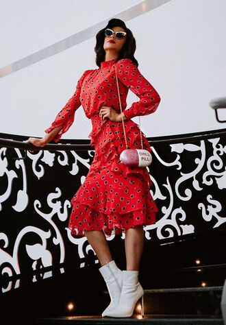 dress red dress midi dress spring dress spring outfits shay mitchell instagram ankle boots white boots ruffle ruffle dress polka dots sunglasses