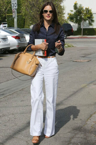 pants alessandra ambrosio purse white pants shirt bag blouse