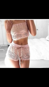 pajamas,shorts,lace,lace romper,blush pink,two-piece,shirt,pretty,pink,pastel,hot,sexy,crop tops,ribbon,fashion,pastel pink,mesh,cute,kawaii,outfit,instagram,jumpsuit,dress,top,pink top,pink shorts,matching shorts and top,strapless top,lace shorts,lace top,romper,summer,cropped,matching set,white,blouse,pink lace