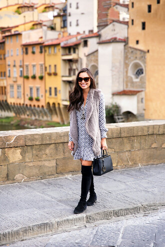 with love from kat blogger dress fur vest printed dress