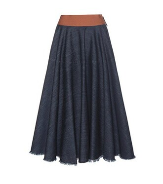 skirt midi skirt denim midi blue