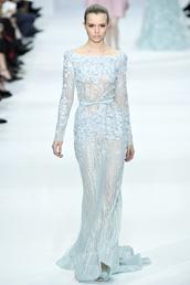 dress,blue,blue dress,gown,couture,light blue,sparkle,sheer shirt