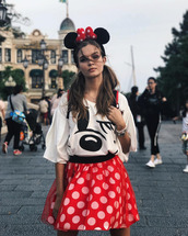 skirt,top,polka dots,mini skirt,josephine skriver,instagram,minnie and mickey,disneyland,model off-duty,hair accessory