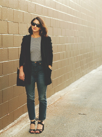 lady a la mode blogger jeans jacket top shoes bag sunglasses jewels