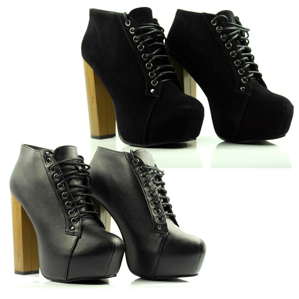 Womens ladies platform high heel wooden block heel lace up ankle shoe boots size