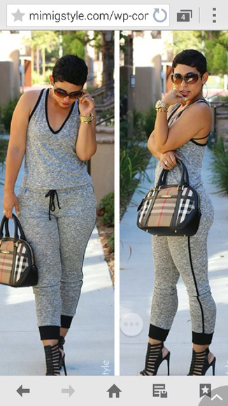 grey jumpsuit baggy freeloader junpsuit kinda loose
