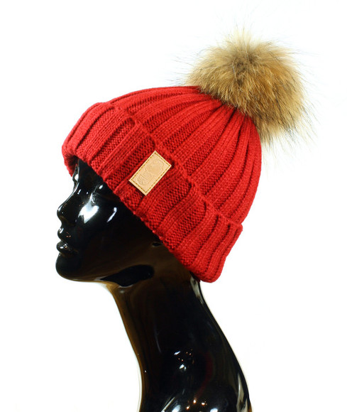 fur fur pompom beanie red cute