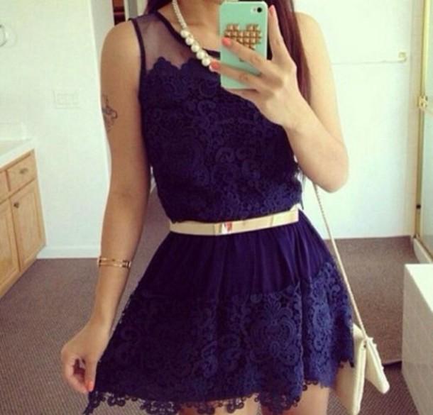 dress navy blue dress floral dress lace dress lace belt