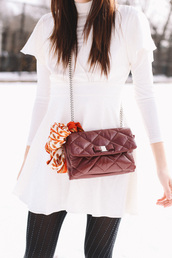 dress,tumblr,white dress,mini dress,long sleeves,long sleeve dress,bag,brown bag,quilted bag,scarf,tights,opaque tights,turtleneck dress,ruffle dress,ruffle