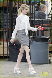blouse,emma roberts,skirt,high heels,socks,white blouse,houndstooth,knee high socks,white heels