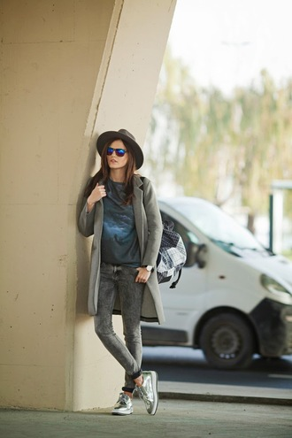 the bow-tie blogger hat grey jeans metallic shoes t-shirt grey coat