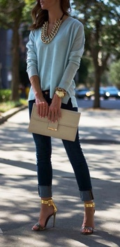 shirt,shoes,gold chain,gold necklace,layered,jewelry,chain,light blue,sweater,teal,blue,blue shirt,gold,necklace,bag,blouse,light blue blouse,handbag,women,gold jewelry,sexy jeans,classy,heels,jeans,jewels,tights,top,leggings,steve madden,clutch,statement necklace,stilettos,watch