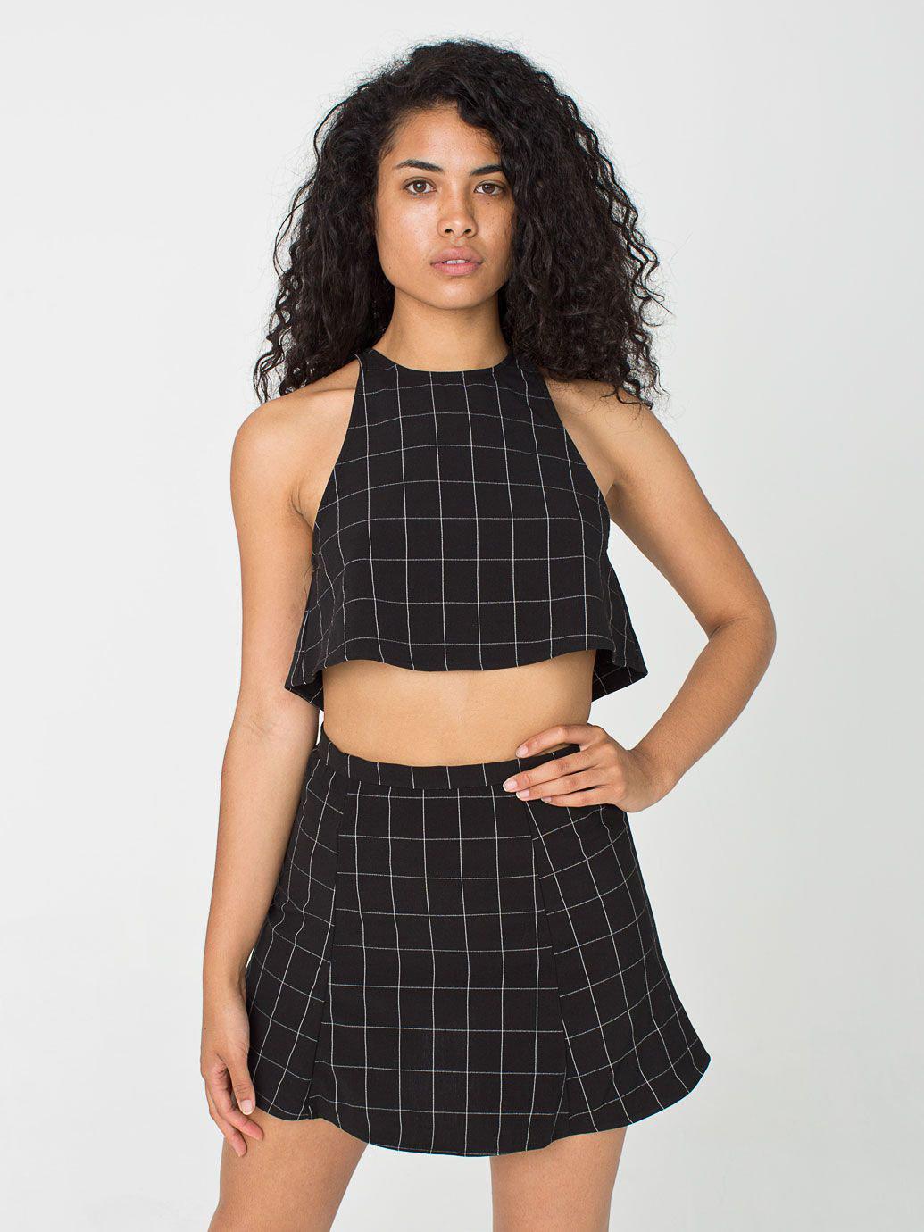 The Grid Print Lolita Mini Skirt   American Apparel