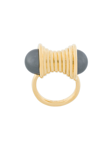 Wouters & Hendrix women pearl statement ring statement ring gold silver black grey metallic jewels