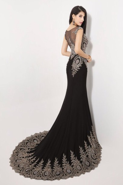dress black gold and silver prom dress