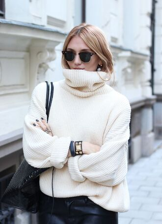 sweater jumper turtleneck oversized oversized turtleneck sweater off white sweater ribbed rib cream turtleneck sweater knitted sweater