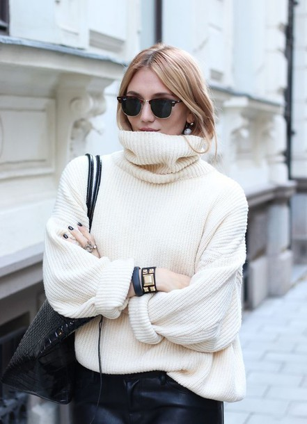 sweater jumper turtleneck oversized oversized turtleneck sweater off white sweater ribbed rib cream