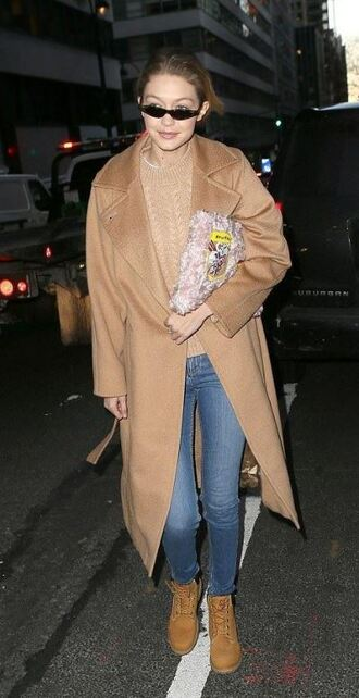 coat jeans denim gigi hadid model off-duty camel camel coat sweater