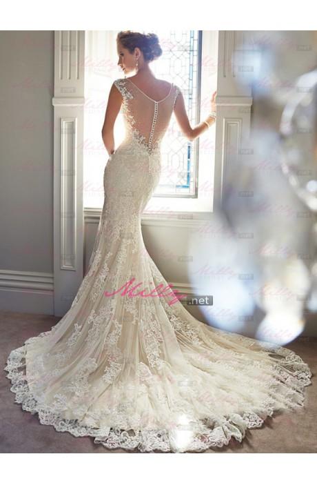 Neck wedding dress at millybridal.net