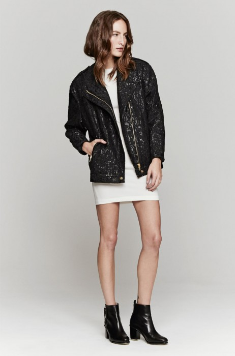 Zimmermann Honour Waxed Lace Bomber In Black | The Dreslyn