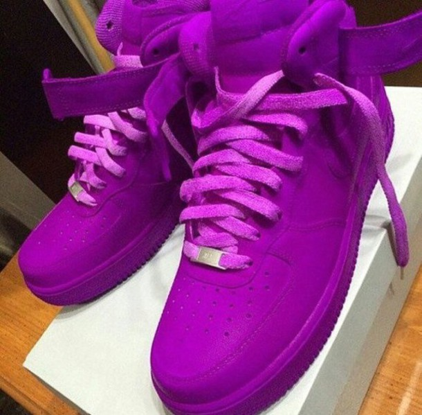 7054a6a7d41 shoes nike air force 1 high top sneakers purple purple shoes purple  sneakers sneakers bright sneakers