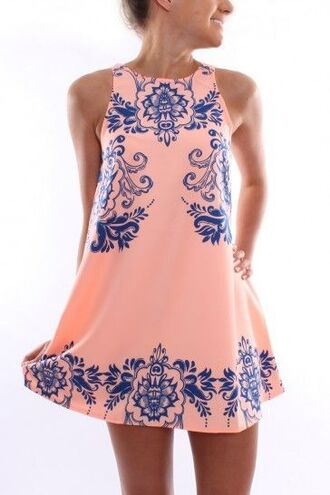 pink pink dress navy navy dress pink and navy preppy preppy dress prep sundress summer dress dress