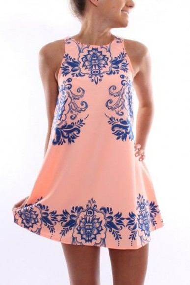 navy dress navy pink pink dress pink and navy preppy preppy dress prep sundress summer dress
