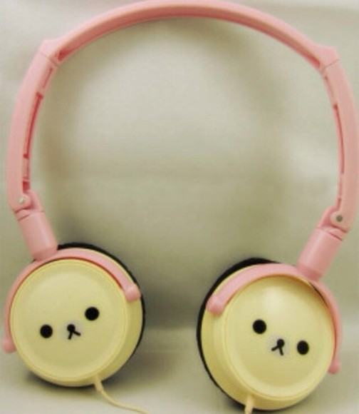 headphones cute teddy bear hat kawaii bear sweet pink earphones japanese